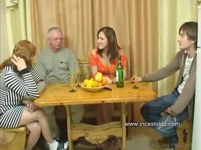 FamilySex Usual family dinner turns into a party | -family-old man-party-