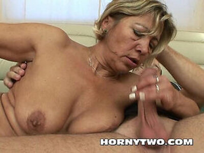 Blonde fat mature wife with tits and fucked by young lucky dude   -blonde-dude-fat-old and young-titjob-tits-