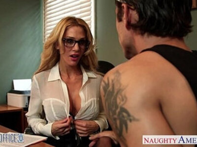 Tattooed blondie Sarah Jessie fuck in the office | -blonde-glasses-office-tattoo-