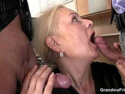 Mature swallows two cocks for work | -cock-grandma-mature-swallow-