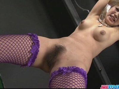 Kinky babe in fishnet stockings tied and fondled with toys | -bondage-fishnets-kinky-stockings-tight-toys-