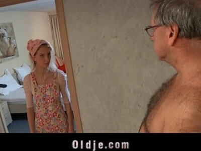 Horny hotel maid fucks an oldman customer | -horny-hotel-lady-maid-old man-