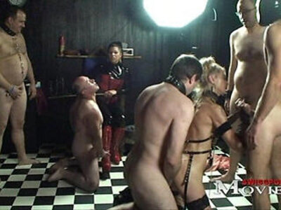 Lady AJ plays with the slave Sandy and slaves | -lady-slave-
