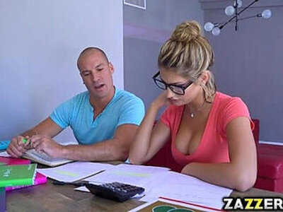 Sean licking down August Ames body starts with her tits | -licking-students-tits-