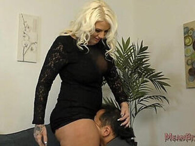 Lucky B Sits on Her Slaves Face Femdom Ass Worship | -ass worship-face fuck-femdom-slave-