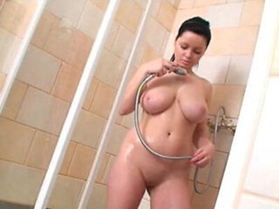 Busty Brunette girl masturbating in the shower | -brunette-busty-masturbation-shower-