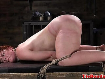 Spreadeagled bondage sub tied up and whipped | -bondage-whip-
