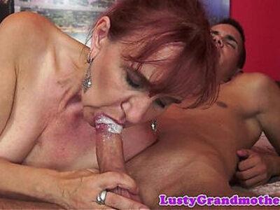 Orally pleasured gilf sucks dick | -big cock-cum in mouth-dick-gilf-