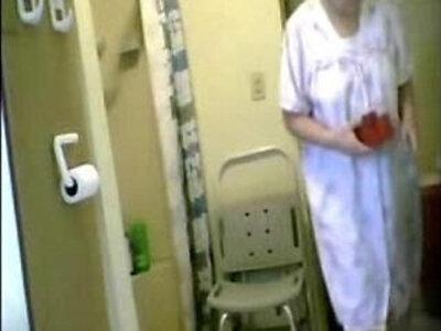 Great ! Spying my hot granny in bathroom   -bathroom-granny-hidden-spy-