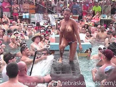 dantes pool wet tshirt pole contest during fantasy fest 2013   -pool-school-wet-wrestling-
