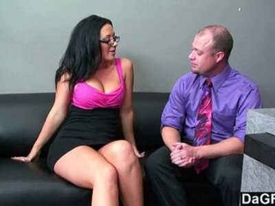 Busty chick sucking and fucking to get the job | -busty-chick-glasses-sucking-
