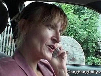 Vicious gang bang with brunette milf | -brunette-gangbang-