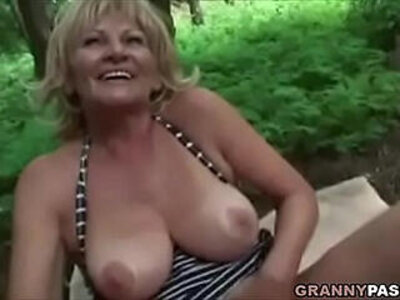Busty Granny Gets his ass Fucked In The Forest | -ass fucking-busty-older woman-park-