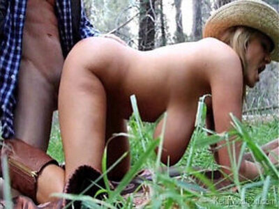 Cowgirl with giant titties fucking in the woods   -busty-cowgirls-