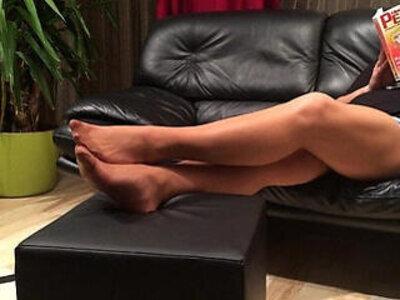 Long nylon footplay by my stepmom | -nylons-stepmom-
