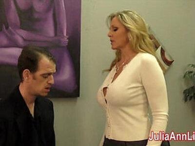 Julia ann milks stepson before his date | -date-stepson-