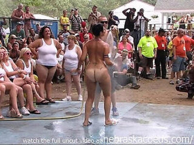amateur brunette babe nude contest at this years nudes a poppin festival in indiana   -amateur-babe-brunette-nudity-school-wrestling-