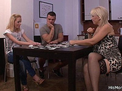 Strip poker leads to pussy toying | -grandma-pussy-striptease-