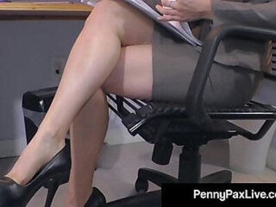 Hot office temp penny pax stays late to masturbate for you | -huge tits-masturbation-office-