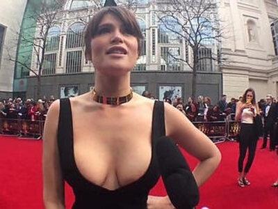 Gemma Arterton in a VERY slutty dress   -celebrity-slutty-