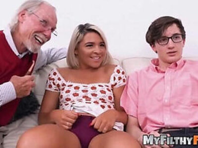 Exotic stepsis rharri rhound dicked in old vs young foursome | -4some-exotic-old and young-stepsister-
