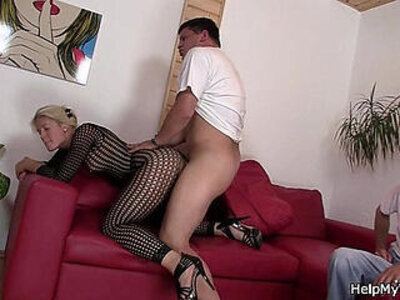 Blonde in fishnets cuckolds old husband | -blonde-cuckold-fishnets-grandma-husband-older-