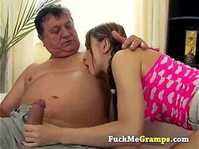 She really likes the old man | -grandpa-old man-