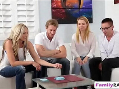 Weird family played poker stripping ends up fucking foursome | -4some-family-stepsister-striptease-weird-