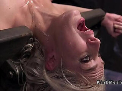 Blonde slave paddles in device bondage | -blonde-bondage-pain-slave-