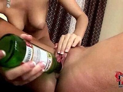 Eufrat and Jana use beer bottles to pleasure each other | -nipples-pleasure-