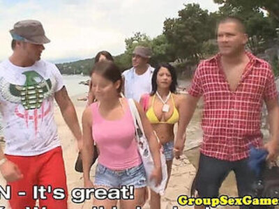 Beach game group pussyfucking   -beach-games-group-piercing-