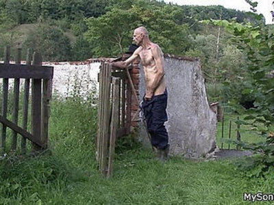 Oldman pleases sons gf outdoors   -old man-outdoor-son-