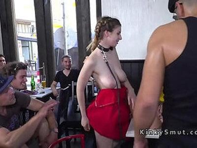 Busty bare boobs slave deep throats in public | -boobs-busty-public-punishment-slave-