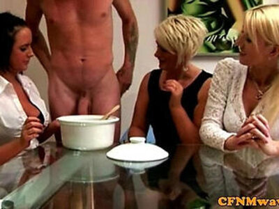 Euro CFNM milfs collecting his cum | -cfnm-cum-humiliation-milf-