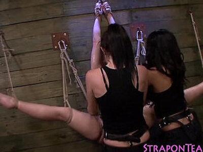Tied to wall lez strapon | -bondage-strapon-