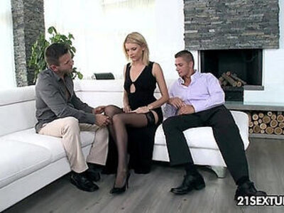Leggy blonde is about to take two dicks | -blonde-dick-double-