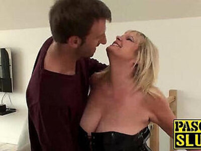 Blonde housewife with leather outfit gets her pussy drilled roughly | -blonde-drilling-housewife-leather-pussy-