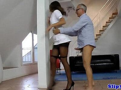 Stockinged european nurse cockriding oldman   -european-nurse-old man-