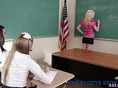 Schoolgirls play a game with their lesbian teacher Charlotte Stokely, Scarlett Sage and Alex More | -games-lesbian-school girl-teacher-teenager-