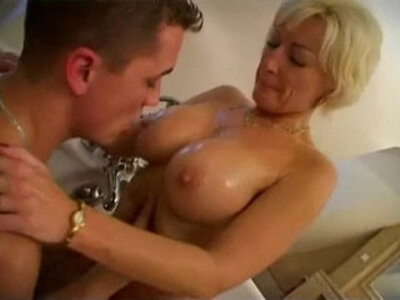 A mummy of years with fantastic body fucking in the bathtub of her son | -bathroom-son-taboo-