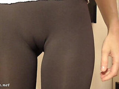 Tight white pants and camel toe | -cameltoe-tight-white chick-yoga-
