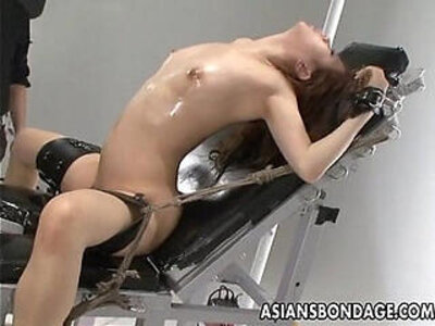Nasty Asian slut in bondage gets her muff teased | -asian-bondage-nasty-sluts-vibrator-