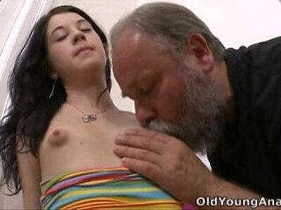 Olga has her breasts licked by older man | -breasts-nipples-older-