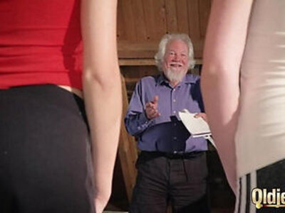Kiara and Mia both fuck an old man and share his cum after a hot fuck | -cum-grandpa-old man-sharing-