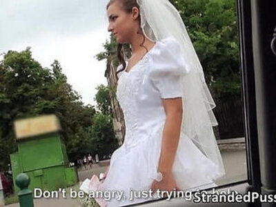 Sexy blonde bride gets holes banged by a big cock stranger | -banged-big cock-blonde-bride-public-stranger-