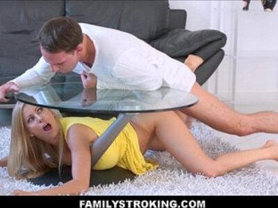 Hot Mom Stuck Under A Table | -mom-stepmom-table-